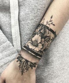 Exotic Flower Wrist Tattoo Design