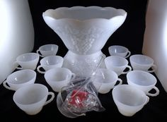 Vintage Anchor Hocking Grape Milk glass punch bowl, stand and cups. Punch Bowl Set, Anchor Hocking, Glass Collection, Milk Glass, Pedestal, Cups, Box, Vintage, Mugs