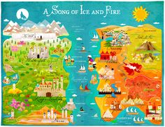 A Map of Ice and Fire (Game of Thrones) by Kitkat Pecson, via Behance