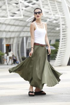 Romantic Maxi Skirt Long Linen Skirt In Army by Sophiaclothing, $74.99