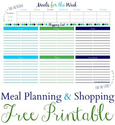 Free Printable Meal Plan & Grocery Shopping List