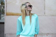 Bluza z tiulowymi rękawami rozmiar 34 Mięta - Cranberrysklep - Bluzy