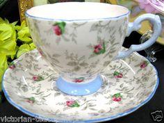 Tuscan Teacup Pink Bluish Tea Cup and Saucer Duo | eBay