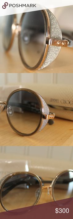 Jimmy Choo Sunglasses Jimmy Choo Sunglasses in excellent condition  Style: Andies (Round style) Color: Grey (Taupe) Lens: Grey Gradient  Includes: Case and lens cloth Jimmy Choo Accessories Glasses