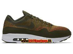 Nike Air Max 1 Ultra Flyknit Chaussures de Basket Nike Pas Cher Pour Homme Noir/Brun 843384-300