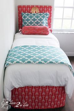 Coral and blue dorm room bedding and décor. Quatrefoil and arrow dorm room. Designer headboard, custom pillows, exclusive bed scarf, window panels, wall art, bed skirts, twin XL duvet and custom monogramming!! Turn your dorm from drab to fab!! http://www.decor-2-ur-door.com/designer-dorm-bed-in-a-bag-sets/blue-custom-bedding-sets-teen-girl-dorm-room-apartment-home-bed-in-a-bag/spirit-blue-bittersweet-arrow-teen-girl-dorm-room-custom-bedding-set?utm_content=bufferc1694&utm_medium=social&utm_sour…
