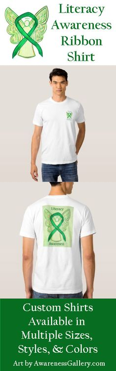 "Literacy awareness uses a green ribbon for its cause awareness. The shirt art features a green awareness ribbon angel painting. The awareness angel t-shirt message notes ""Literacy Awareness"" on both sides. There is a large image on the back of the shirt and a smaller angel on the front of the shirt. Show your support for literacy with this awareness angel shirt!"