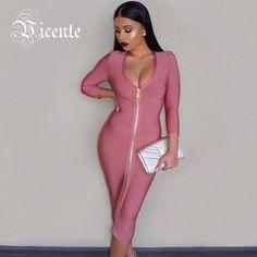 New Gorgeous Pink Front Zipper Knee Length Celebrity Style HL Bandage Dress 5c3e79a87d9d