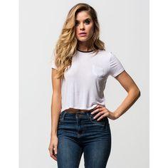 Full Tilt Solid Womens Ringer Tee ($17) ❤ liked on Polyvore featuring tops, t-shirts, white, full tilt t shirts, white t shirt, short sleeve t shirt, white short sleeve top and white short sleeve t shirt