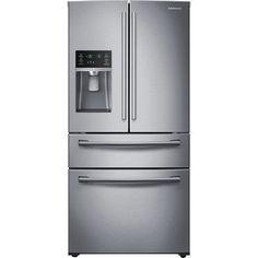 Samsung - 28.2 Cu. Ft. 4-Door French Door Refrigerator with Thru-the-Door Ice and Water - Stainless-Steel - Front Zoom
