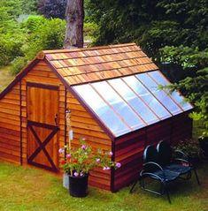 Sunhouse Cedar Wood Storage Shed and Greenhouse Combo Kit