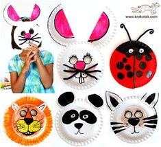 Cardboard plate animal masks with kids crafts Kids Crafts, Toddler Crafts, Crafts To Do, Preschool Crafts, Projects For Kids, Diy For Kids, Craft Projects, Arts And Crafts, Preschool Kindergarten