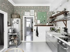 in the beginning this post was all about the kitchen. i had thought i had let the wallpaper ship sail, then i glimpsed the refreshing shades of green…