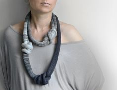 Knot necklace great for a comfortable casual look. The knit fabric is well-suited for people with allergies who cannot tolerate metals. We love Okapiknits' incredibly unique designs and patterns. COLO