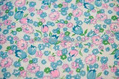 Mod Tulips and Daisies Vintage Fabric 60s by thoroughbredthreads