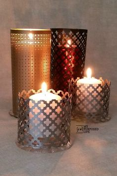 Make your own decorative sheet metal candle lanterns.  The sheets of metal are available at Home Depot.  Spray paint and colored candles make the possibilities endless.