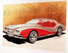 Bill Michalak, Chevrolet Monte Carlo, early 1970s. Chalk, markers, colored pencil on paper