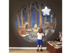 The new Wallpaper circle Forest Dreams by Hartendief is one of the new collection 2017 designs. This… – Babyzimmer Forest Nursery, Woodland Nursery, Whimsical Nursery, Forest Wallpaper, New Wallpaper, Baby Boy Rooms, Little Girl Rooms, Woodland Theme, Kids Room Design