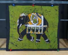 Batik Elephant Cotton Panel • Black Green & Yellow • India • Wax Dyed Batik • Bright Colors • Authentic Batik by 13thStreetEmporium on Etsy