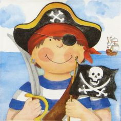 4x Single Table Party Paper Napkins for Decoupage Decopatch Craft Pirate Boy