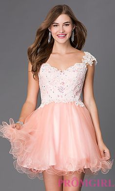 Short Elizabeth K Homecoming Dress With Lace Cap Sleeves at PromGirl.com