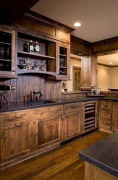 3 Certain Clever Hacks: Inexpensive Kitchen Remodel Back Splashes country kitchen remodel bricks.Kitchen Remodel Tips Back Splashes ranch kitchen remodel on a budget.Very Small Kitchen Remodel. Rustic Kitchen Design, Farmhouse Kitchen Cabinets, Wood Cabinets, Rustic Cabinets, Dark Cabinets, Wooden Kitchen, Kitchen Designs, Rustic Design, Hickory Cabinets