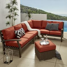 Yasawa Modern Outdoor Cushioned Wood Sectional - Grey by NAPA LIVING