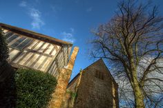UpwardHDR - Great angle and composition photo. Stone building, sandwiched between a close studded timber framed house and its source. Oak Framed Buildings, Timber Frame Homes, Tudor, Britain, Medieval, Most Beautiful, Composition, Cabin, Stone