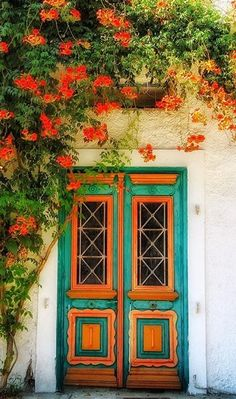 Door in Thassos, Greece surrounded by Orange Trumpet Creeper or Brazilian Flame Vine.