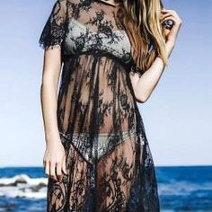 #Black #Lace #Long Sleeve with #Cami #Dress Twinset.