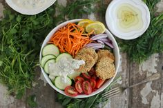 Herb Falafel and Vegan Tzatziki is a gluten free and vegan friendly variation of a classic Eastern dish to be served wrapped or solo.