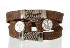 twisted bracelet with  round  silver plated metal elements and wrapped around chain  brush style brown  leather  jewelry gift  art hand made