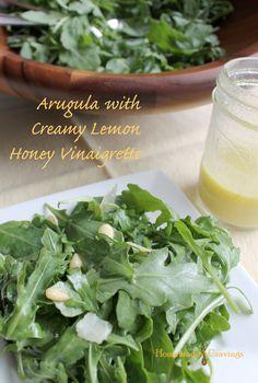 Arugula, Parmesan and Pine Nuts with Creamy Lemon Honey Vinaigrette