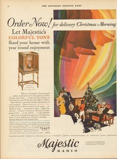 1929 Grigsby Grunow Chicago IL Vintage Majestic Tube Radio Christmas Morning Ad
