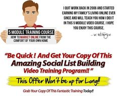 Social Media List Building Video Course. How to make money from social media by building a profitable email list today. http://www.2015newmlmbusinessopportunity.com