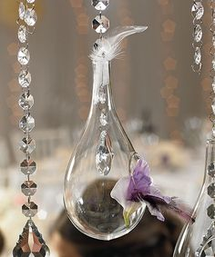 Large Blown Glass Tear Drops Wedding Reception Accessory (set of 2) by Lashe Occasions.