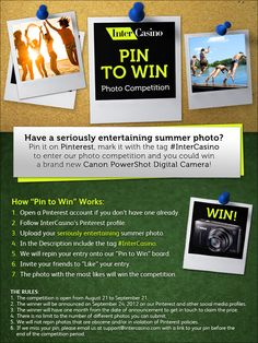 Enter our photo competition to win a Canon Powershot digital camera! www.intercasino.com #pinterest #contest #competition