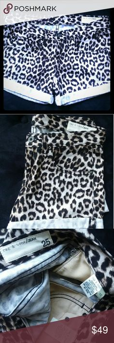 """Rag &Bone Leopard Shorts Pristine. """"Snow leopard"""" is the color stated on the tag. Size 25, runs a little big. Soft denim. Extremely comfortable. rag & bone Shorts Jean Shorts"""