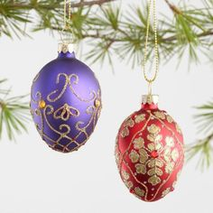 Sumptuously decorated with ornate designs and shimmering glitter, our glass egg ornaments lend a luxurious look to your tree. One set of six features traditional Christmas colors, while the other dazzles in rich jewel tones. 6 Pack Glass Decorative Eggs Boxed Ornaments. affiliate
