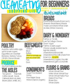 Clean eating for beginners shopping list ***clean eating is so easy that you don't even need to think about it after a while!***