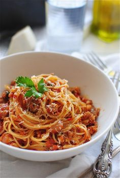 Angel Hair Pasta with a Tomato Meat Sauce