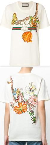 Logo T-shirt with Floral and Snake Print