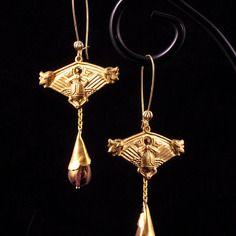 """Reservees - boucles d'oreille """"khépri"""" - scarabée, ors et verre dans le style historique antique égyptien"""