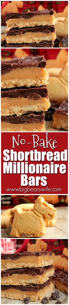 Shortbread cookies, homemade caramel and melted chocolate are layered together to create these perfect No Bake Shortbread Millionaire Bars!