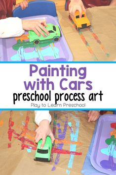 Feb 2020 - Stretch, walk, cross the midline, and drive the cars through paint in this gross motor process art project that is sure to please your preschoolers! Cars Preschool, Transportation Preschool Activities, Transportation For Kids, Preschool Art Activities, Preschool Arts And Crafts, Infant Activities, Educational Activities For Preschoolers, Daycare Crafts, Motor Activities
