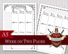 Harry Potter inspired Filofax/Planner Week on 2 pages printable by Tales of Wonderland