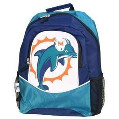 """Miami Dolphins NFL Fan Backpack by NFL. $19.55. Roomy Exterior Pocket with Side Mesh Pockets. Adjustable Padded Shoulder Straps. Officially Licensed. Measures Approximately 16"""" x 12"""" x 5"""". Durable Nylon Construction. The perfect backpack for the die hard or casual fan. Carrying your belongings is more fun with this Most Valuable Fan backpack by Little Earth.. Save 51%!"""