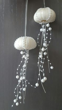 Coastal Christmas tree project...created these jelly fish from sea urchins! Love how they turned out!