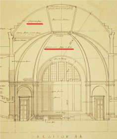 "Building Guastavino dome in China: A historical survey of the dome of the Auditorium at Tsinghua University ☆ Yishi Liu. Full-size image (105 K)::Section of the original design for the Auditorium by Murphy in 1916. Note the two places (underlined in red by the author) referring to ""Guastivino Dome & Ribs,"" but ""Guastavino"" was misspelled for ""Guastivino"". Source: Murphy Papers. MS 231-Box 4, Folder 4."