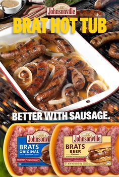 Beef Recipes For Dinner, Grilling Recipes, Cooking Recipes, Bratwurst Recipes, Sausage Recipes, Comida Filipina, Brat Sausage, Sausage Party, Easy Summer Meals